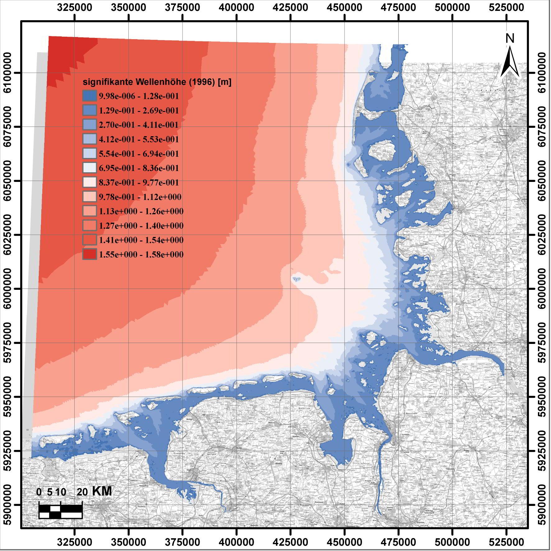 Darstellung der mittleren signifikanten Wellenhöhefür das Jahr 1996