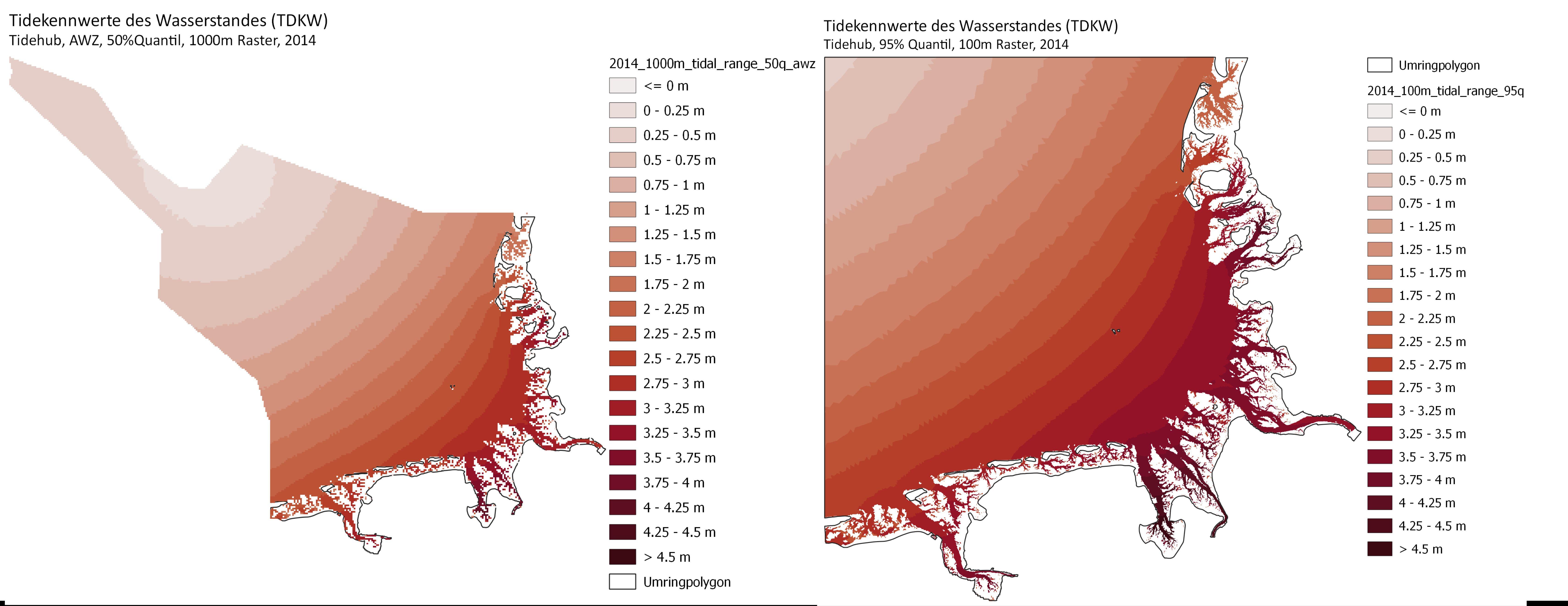 Tidehub für die Ausschließliche Wirtschaftszone (Quantil 50%) und die Deutsche Bucht (Quantil 95%), Jahr 2014