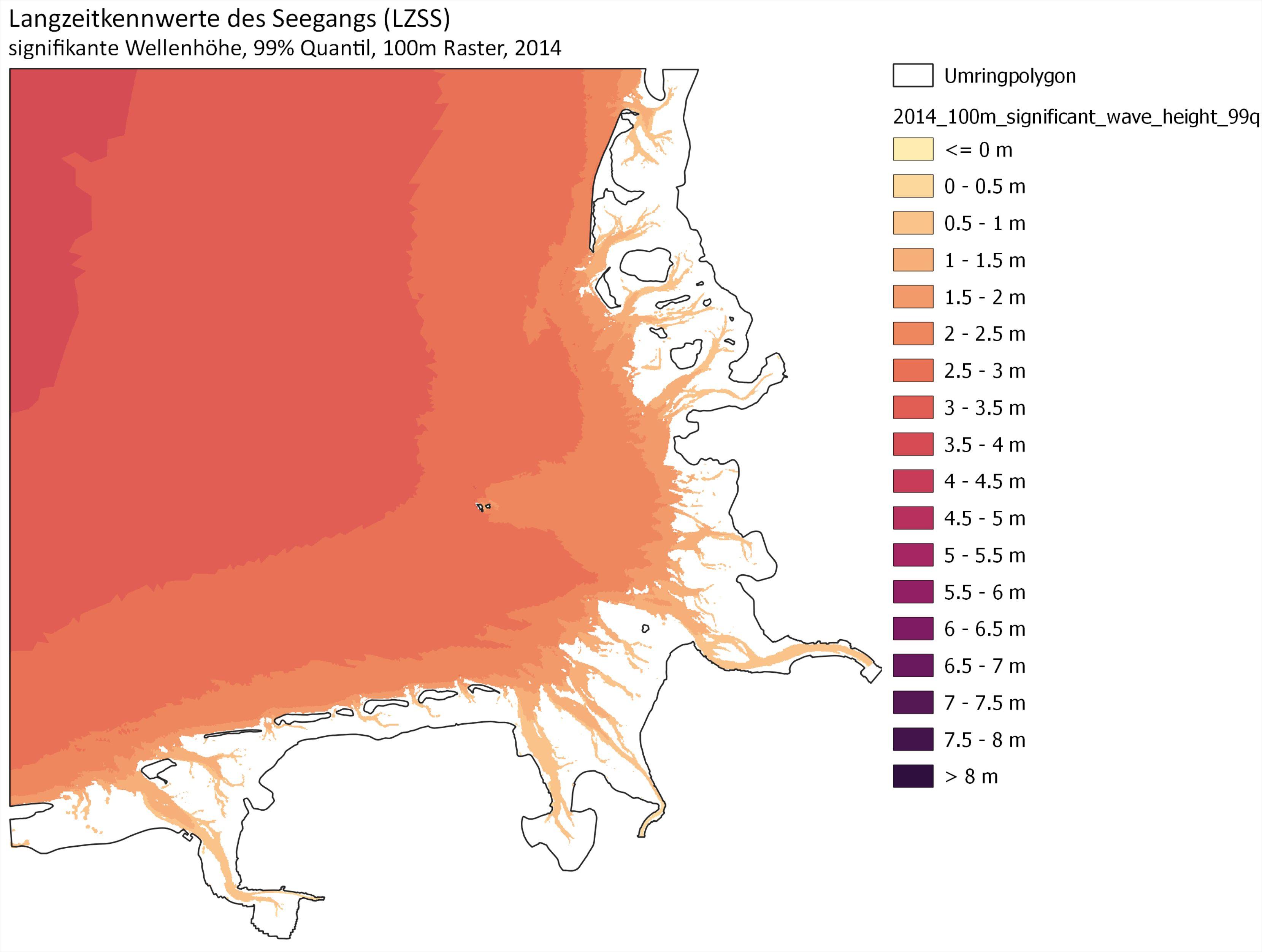 Beispiel: 99% Quantil signifikante Wellenhöhe für das Jahr 2014