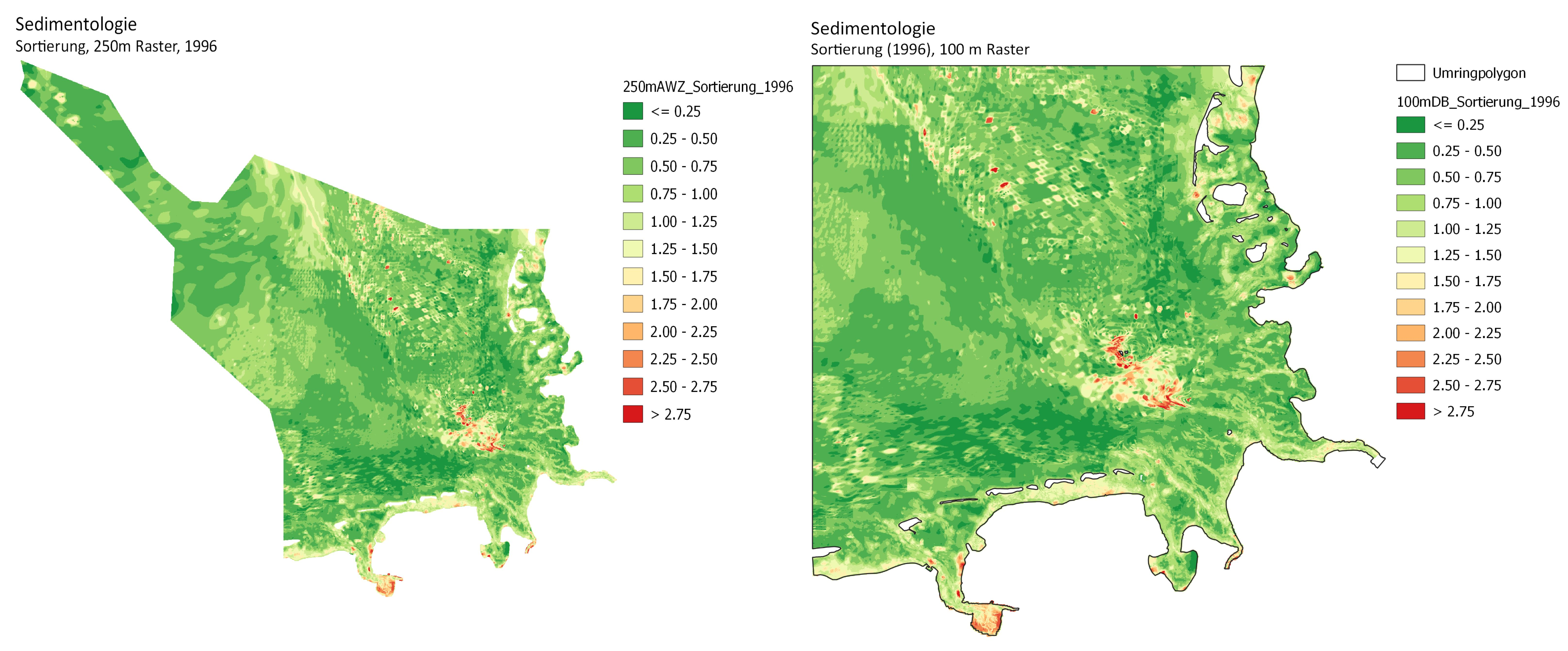 Sortierung für die Ausschließliche Wirtschaftszone (AWZ) und die Deutsche Bucht für das Jahr 1996