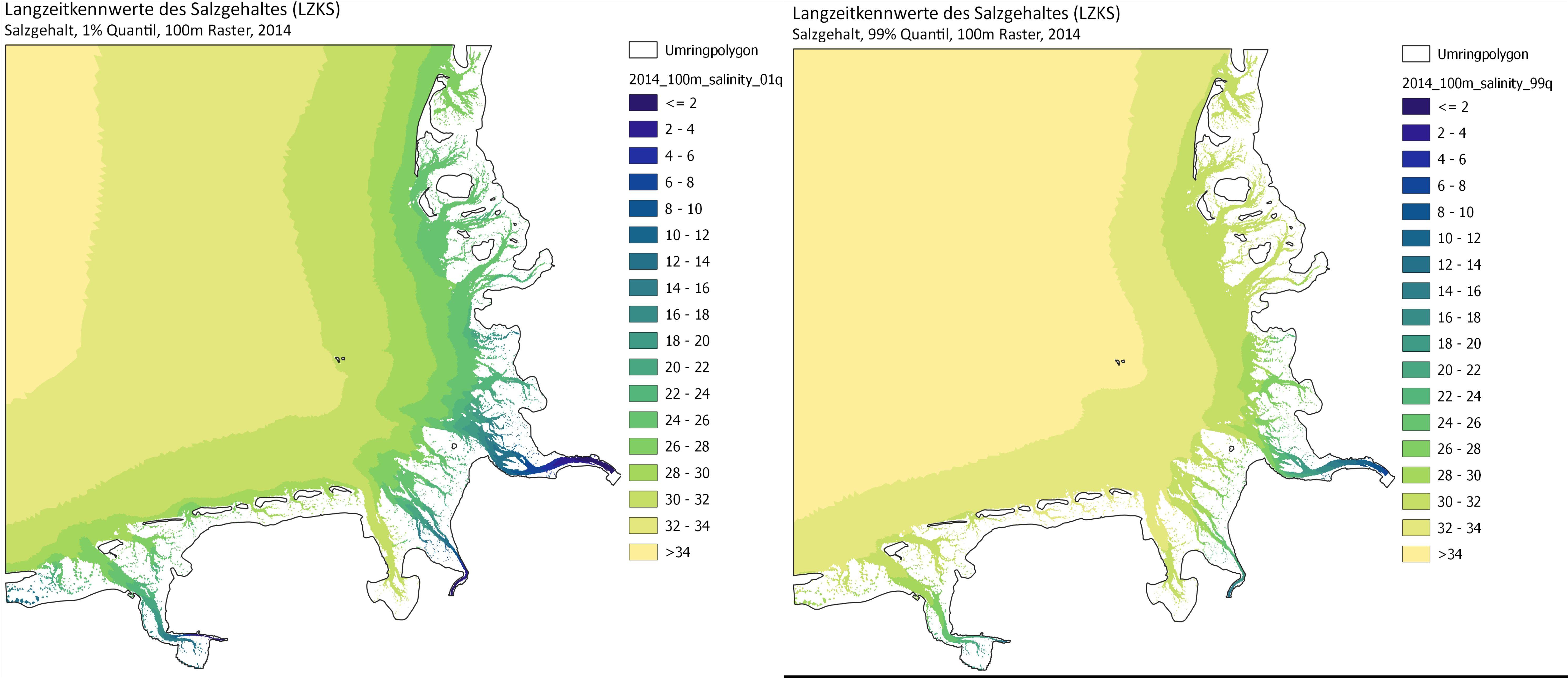 Überblick über die Lanzgzeitkennwerte des Salzgehaltes für das Beispieljahr 2014.