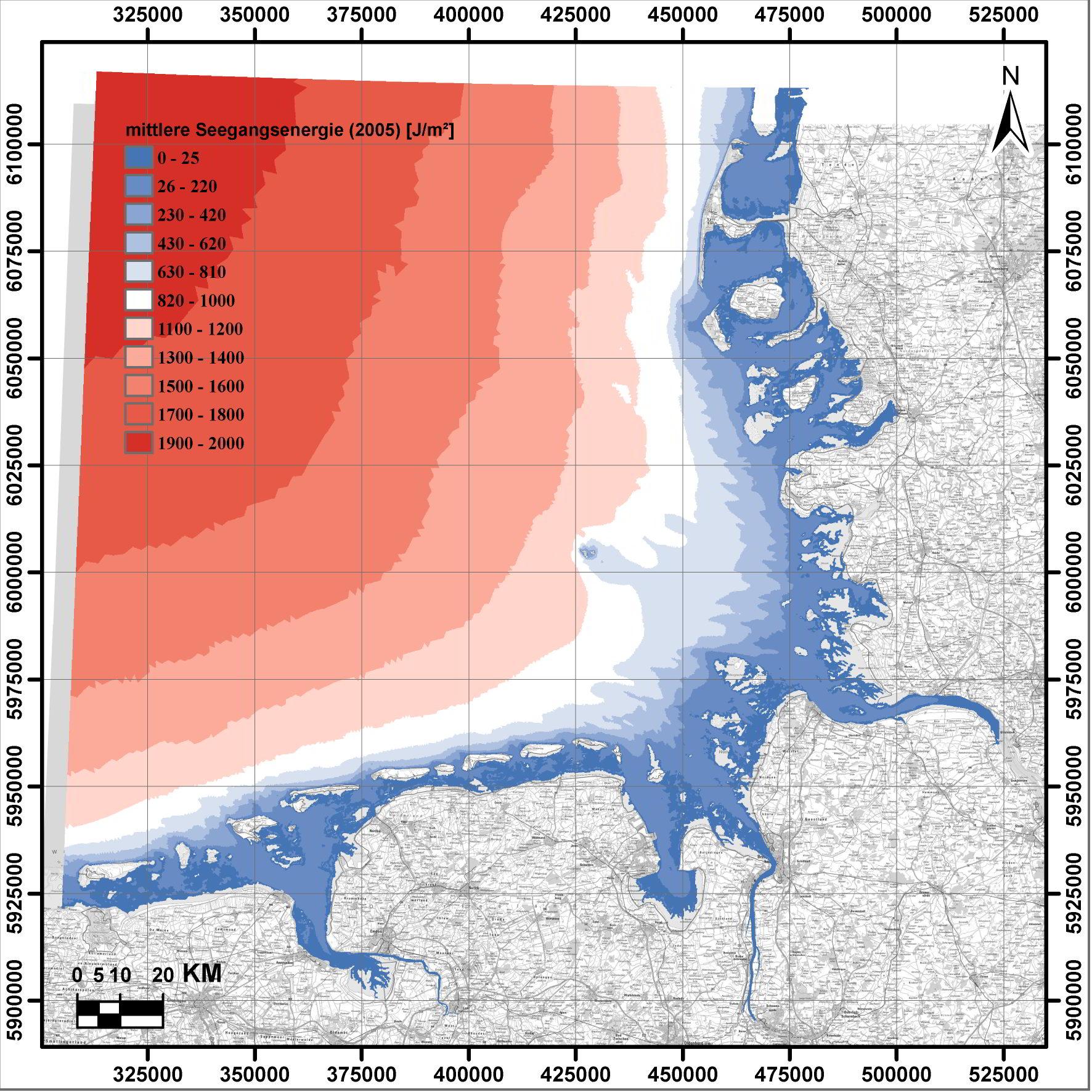 Darstellung der mittleren Seegangsenergie für das Jahr 2005